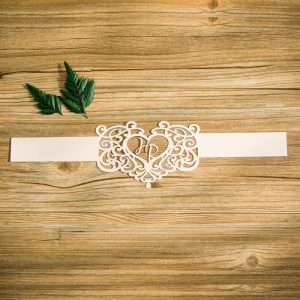 BELL003 Love heart white inital Lasercut belly band flat