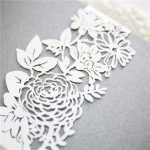 BELL008 white rose Lasercut belly band on invitation