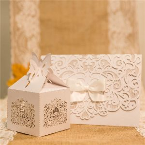 DIYBON407 white lasercut bonbonniere box with invitation