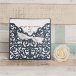 LASINV70 Navy slip in lasercut invitation