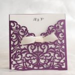 LASINV73 Purple slip in lasercut invitation with insert