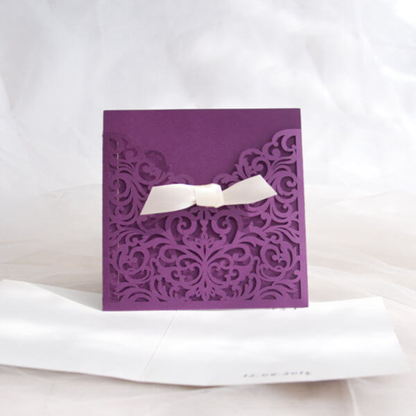 LASINV73 Purple slip in lasercut invitation