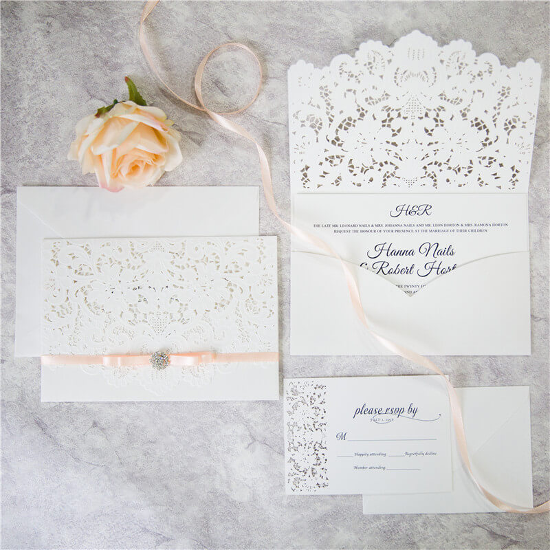 WEDINV142 White lasercut pocket wedding invitation set with apricot ribbon bow and diamante