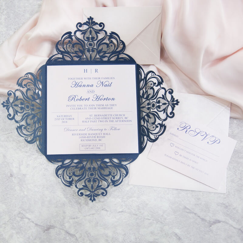 Navy and white lasercut invitations red rose invitations wedinv146 inside of navy blue lasercut wedding invitation with white belly band solutioingenieria Gallery