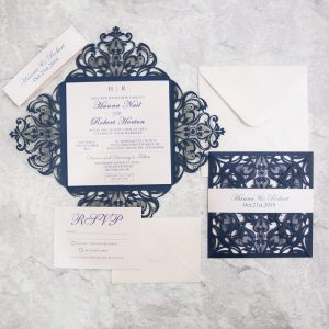 WEDINV146 Navy Blue lasercut wedding invitation with white belly band and rsvp set