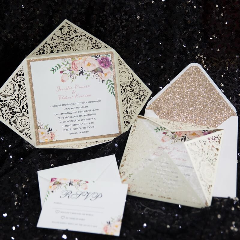 WEDINV148 Ivory lasercut wedding invitation with floral insert and white envelope with gold glitter liner set