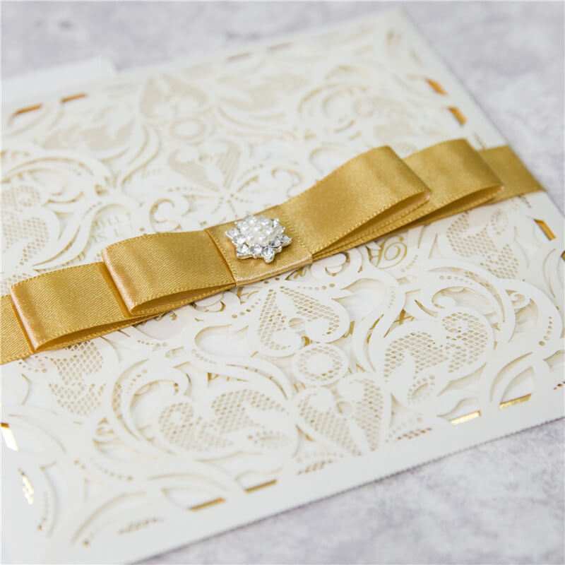 Ivory With Gold Lasercut Invitations Red Rose Invitations