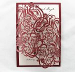 WEDINV27 front of Red Rose Metallic Lasercut invitation with ivory insert