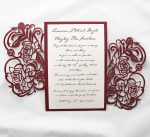 WEDINV27 inside of Red Rose Metallic Lasercut invitation with ivory insert
