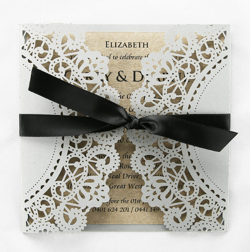 WEDINV28 Silver lasercut wedding invitation with rustic brown insert and black ribbon to close