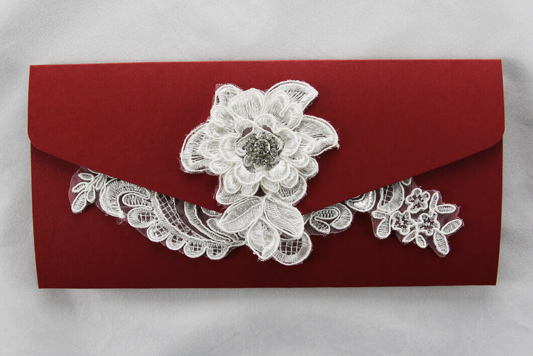 WEDINV37 Dark Red wedding invitation pouch with white lace and diamante