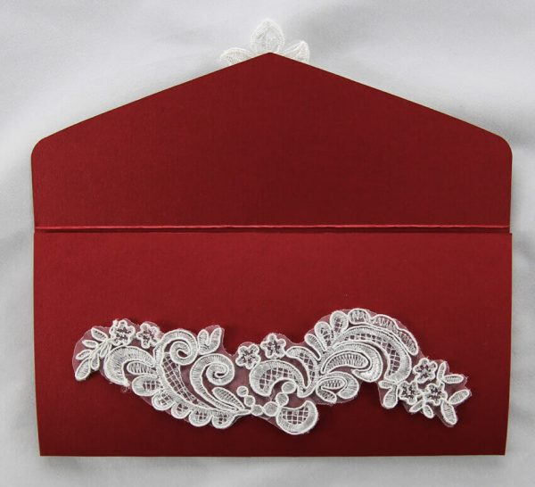 WEDINV37 front inside panel Dark Red wedding invitation pouch with white lace and diamante