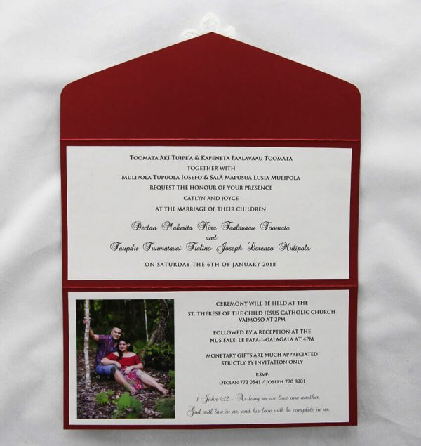 WEDINV37 inside of dark red wedding invitation pouch with white lace and diamante