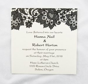 WEDINV41 thermographic black and cream floral wedding invitation