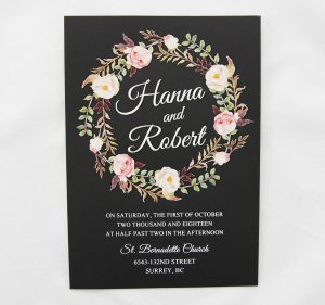 WEDINV44 black wedding invitation with thermographic floral design printed in white