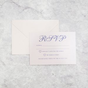 White rsvp with envelope printed in blue