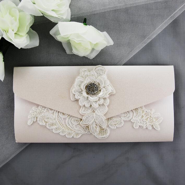 Ivory Pocket Lace Wedding Invitation