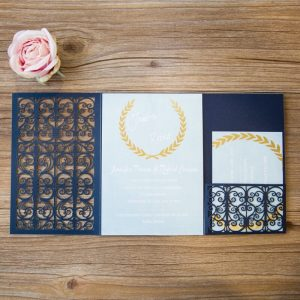 LASINV103 inside of navy filigree pocket lasercut invitation