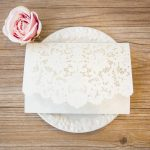 LASINV105 white floral pocket lasercut invitation