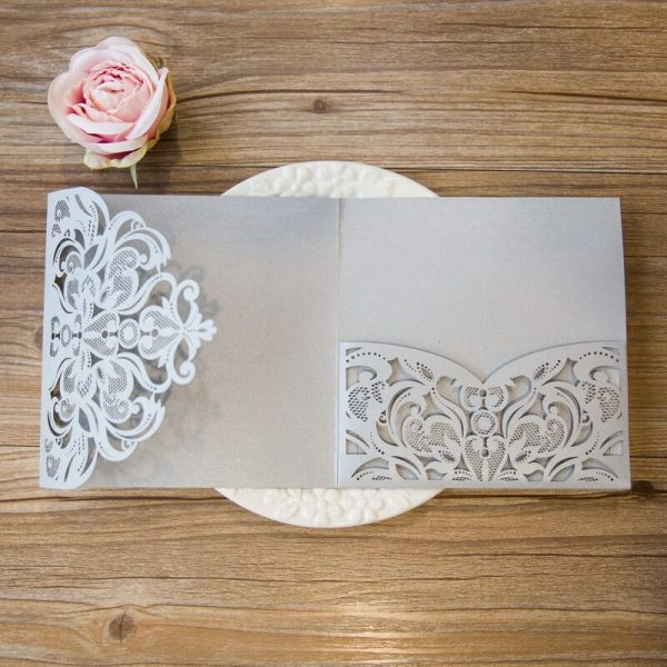 LASINV108 inside of silver filigree pocket lasercut invitation