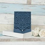 LASINV114 Navy filigree lasercut folded invitation