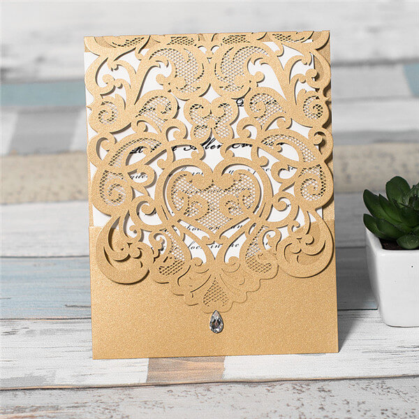 LASINV115 gold filigree lasercut folded invitation