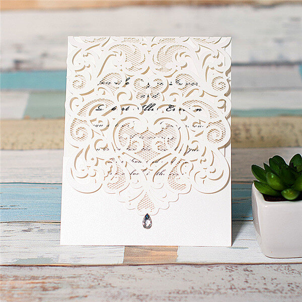 LASINV117 white filigree lasercut folded invitation