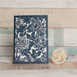 LASINV118 navy flower lasercut folded invitation