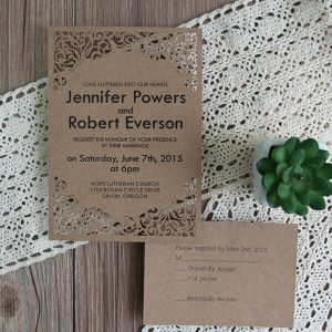 LASINV83 brown filigree lasercut printed invitation