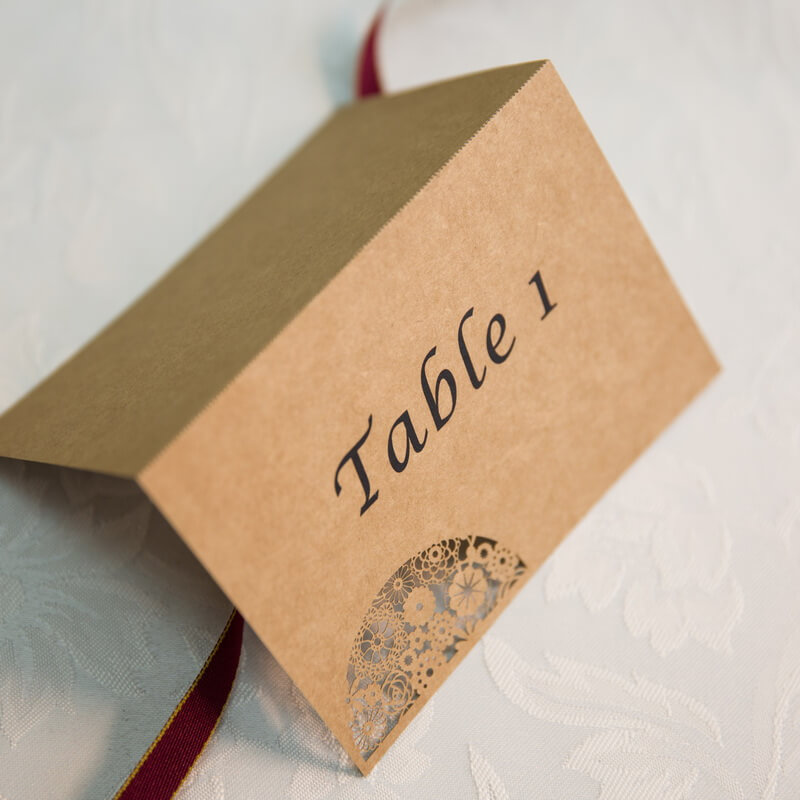 PLACAR83 rustic semi circle lasecut individual place card