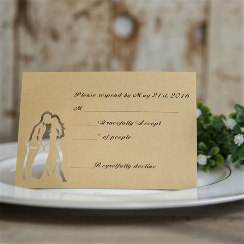 RSVPWISH29 Rustic Wedding couple RSVP card