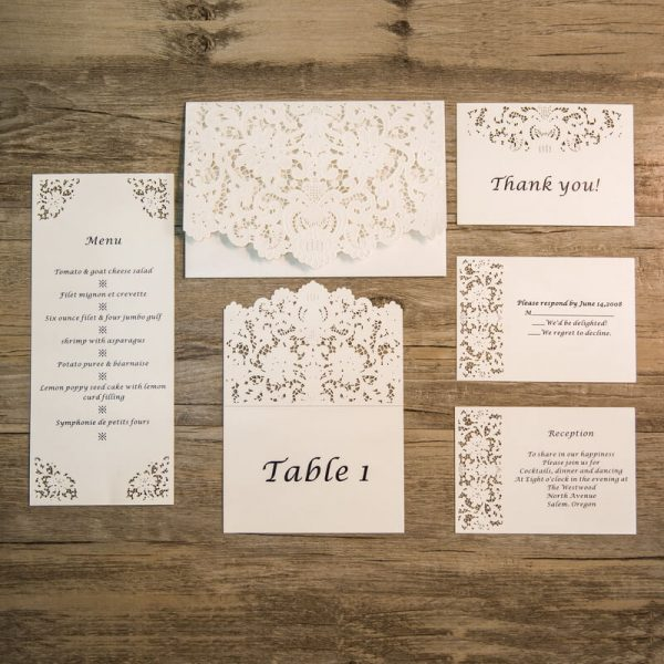 SET4 Lasercut invitation set white