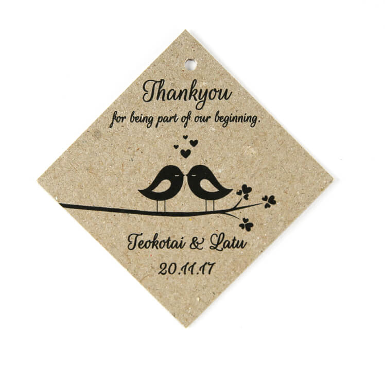 BONTAG16 rustic brown diamond shape bonbonniere tag with love birds