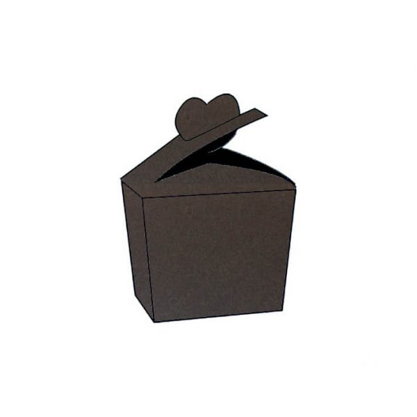 Humus dark brown textured vise versa heart bonbonniere box