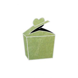 pea green starfish textured metallic heart bonbonniere box