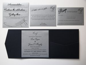WEDINV161 inside of navy blue pocket fold wedding invitation with silver insert on left hand side and pocket on right hand side with rsvp wishing well and accomadation cards