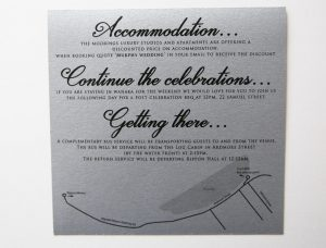 WEDINV161 silver acccomadation card bus card and after party card to fit in invitation pocket