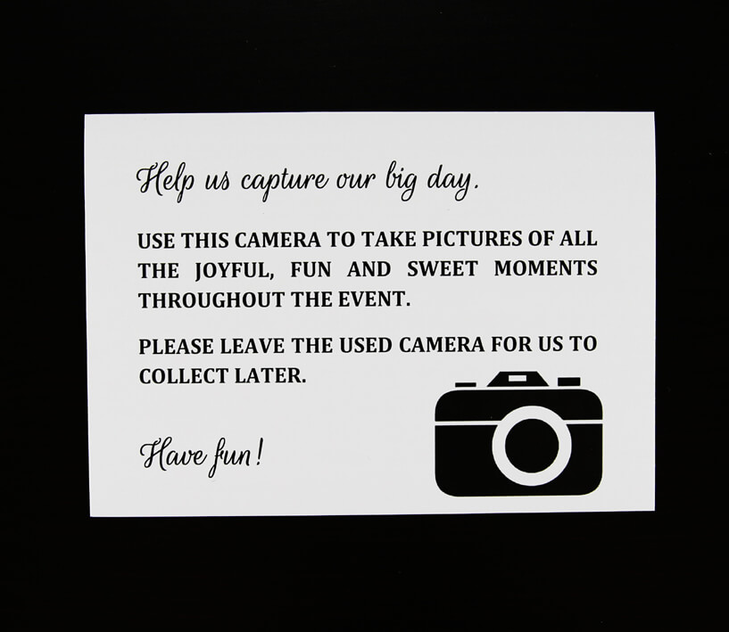 White camera card for disposable cameras
