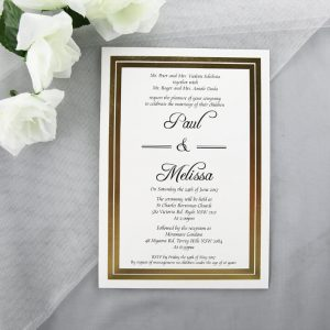 WEDINV115 front of A5 Gold Foiled Wedding Invitations with pocket