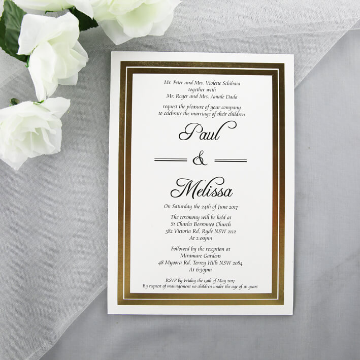 Gold Wedding Invitations.Gold Foiled Wedding Invitations
