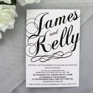 WEDINV89 Black and White Wedding Invitation