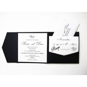 WEDINV166 inside Navy blue pocketfold wedding invitation with wishing well rsvp and map card