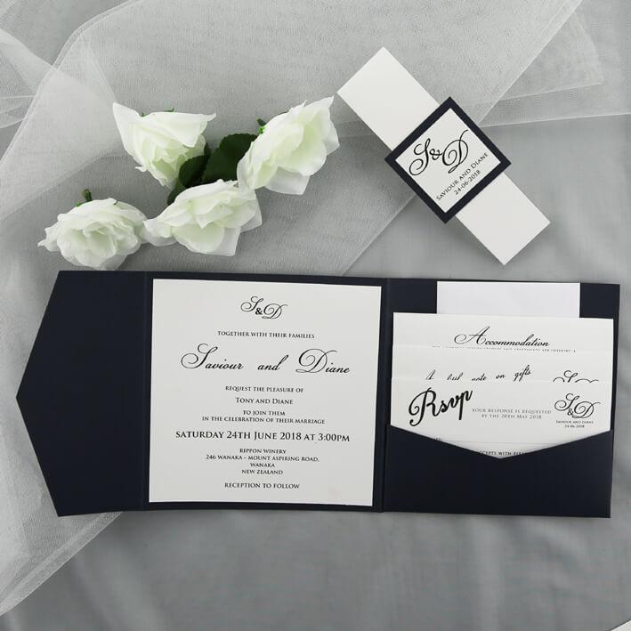 Wedding Invitation Pocket Folders: Blue And White Pocketfold Invitation