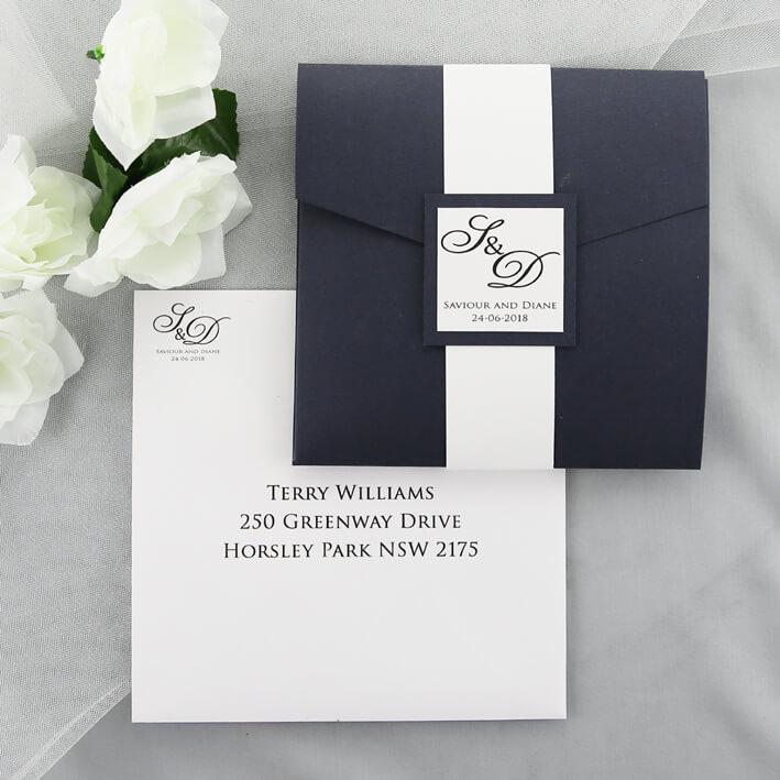 Wedding Invitations Pocketfold: Blue And White Pocketfold Invitation