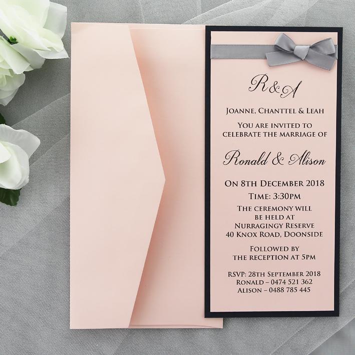 Red And Pink Wedding Invitations: Pink Navy Wedding Invitation