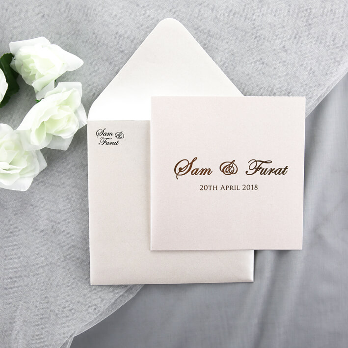 Gold Foiled Wedding Invitation On Ivory Card