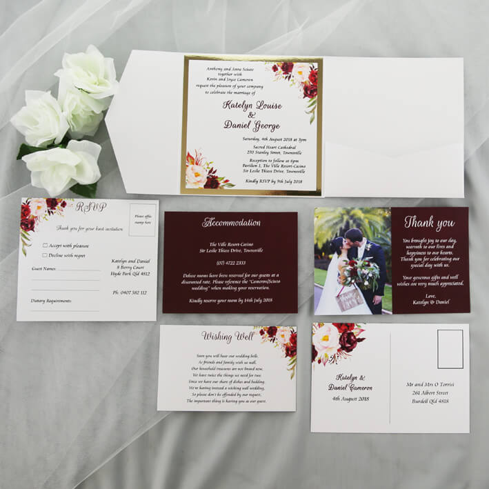 Gold And Burgundy Wedding Invitations