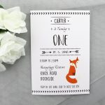 BIRINV40 Kids Fox Birthday Invitation