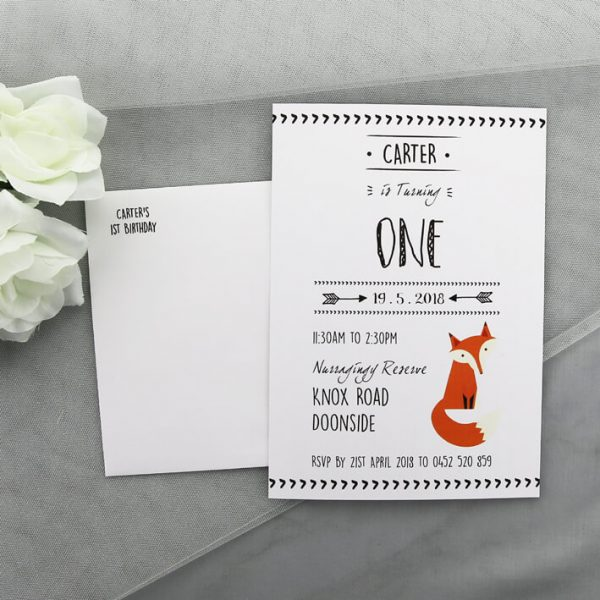 BIRINV40 Kids Fox Birthday Invitation with envelope