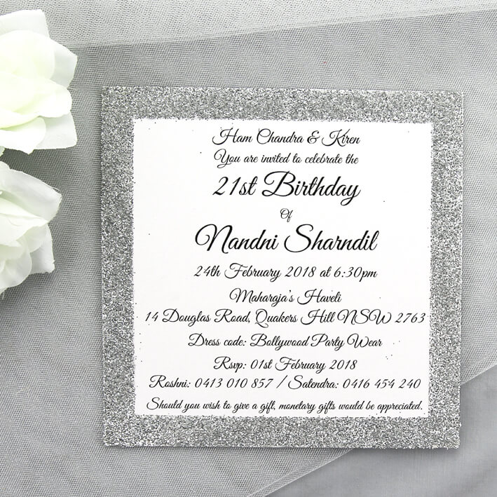 BIRINV45 21st Birthday Silver Glitter Invitation